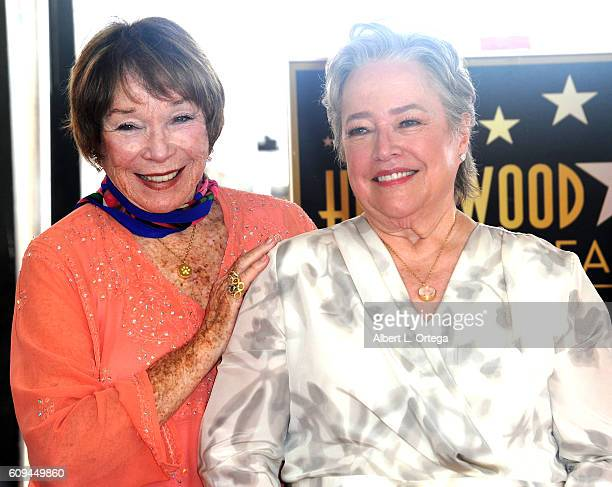 Actress Shirley MacLaine with actress Kathy Bates at the Kathy Bates Star Ceremony On The Hollywood Walk Of Fame held on September 20 2016 in...