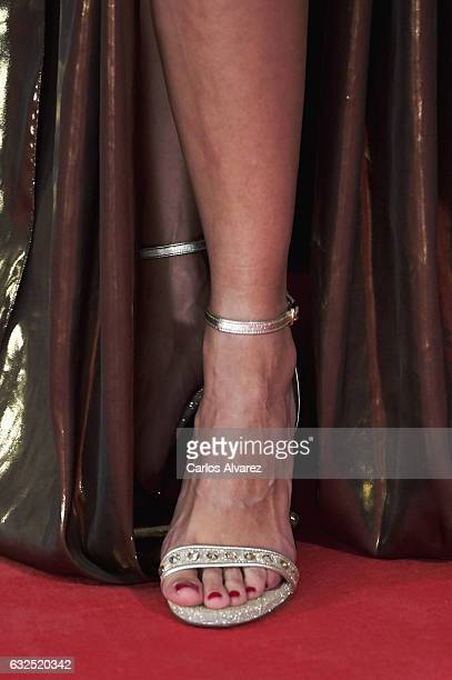 Actress shoes detail Macarena Gomez attends the Feroz cinema awards 2016 at the Duques de Pastrana Palace on January 23 2017 in Madrid Spain