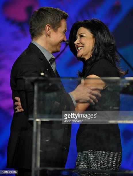 Actress Shohreh Aghdashloo presents the Breakthrough Actor Performance award to actor Jeremy Renner onstage at the 2010 Palm Springs International...