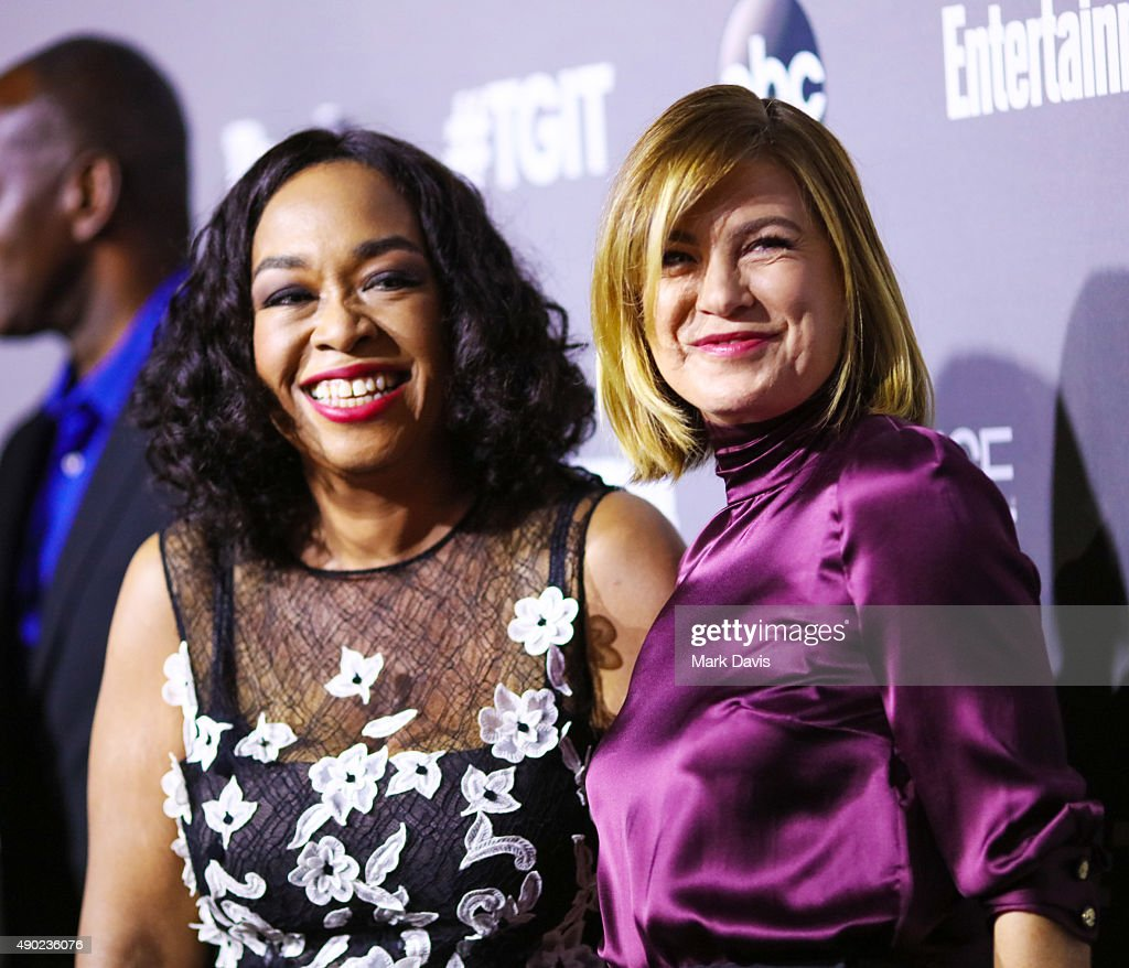 Actress Shonda Rhimes (L) and actress Ellen Pompeo attend the celebration of ABC's TGIT Line-up held at Gracias Madre on September 26, 2015 in West Hollywood, California.