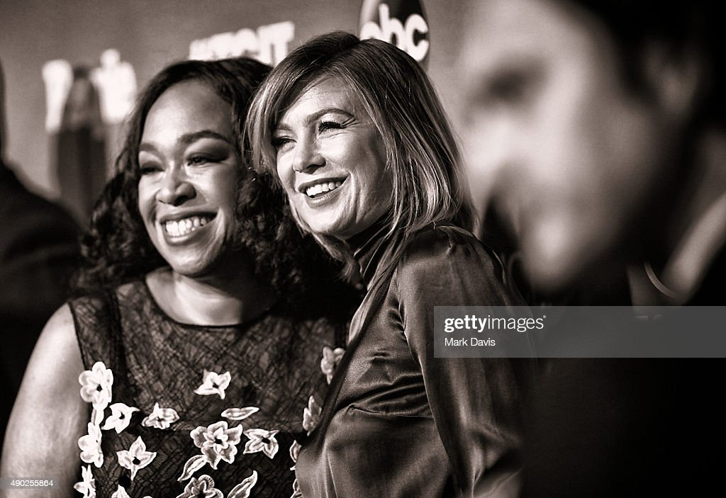 NOTE; (This image has been converted to black and white) Actress Shonda Rhimes (L) and actress Ellen Pompeo attend the celebration of ABC's TGIT Line-up held at Gracias Madre on September 26, 2015 in West Hollywood, California.