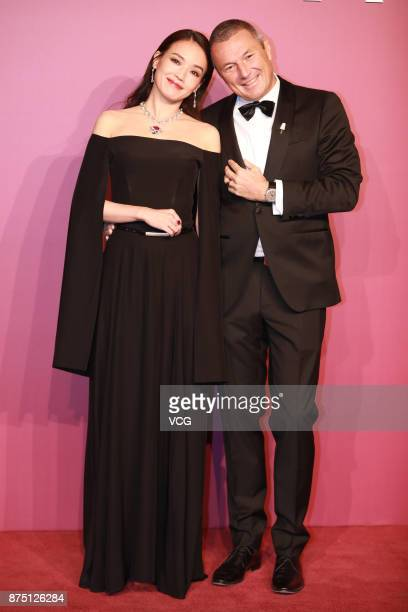 Actress Shu Qi and Bulgari CEO JeanChristophe Babin attend Bvlgari Festa high jewelry event at Bvlgari hotel on November 16 2017 in Beijing China