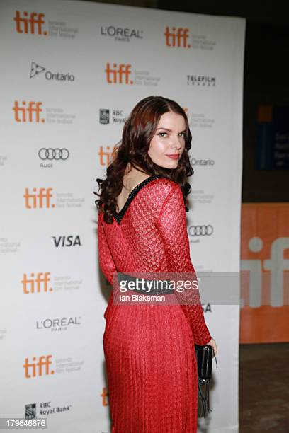 Actress Sianoa SmitMcPhee arrives at Ryerson Theatre on September 5 2013 in Toronto Canada