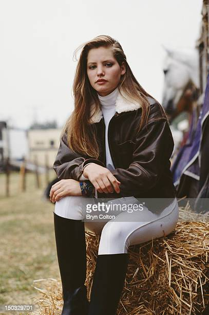 Actress Sienna Guillory on the set of the television adaptation of the Jilly Cooper novel 'Riders' 1992