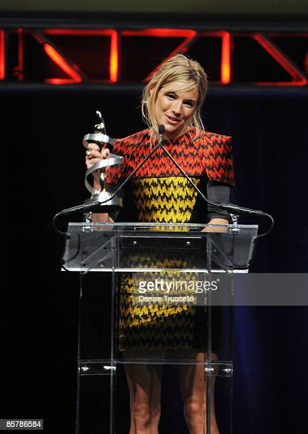 Actress Sienna Miller accepts the award for Comedy Star of the Year at ShoWest 2009's Final Night Banquet And Award Ceremony on April 2 2009 in Las...