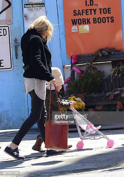 Actress Sienna Miller and daughter Marlowe Sturridge are seen in walking in Soho on March 23 2015 in New York City