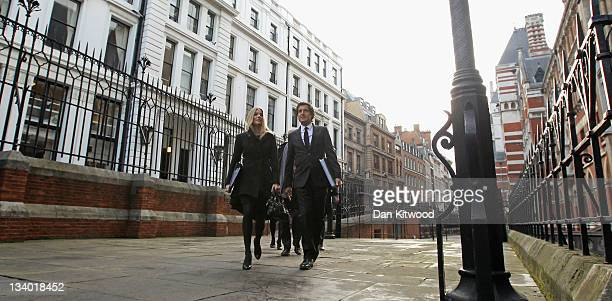 Actress Sienna Miller and David Sherborne QC arrive to give evidence to The Leveson Inquiry at The Royal Courts of Justice on November 24 2011 in...