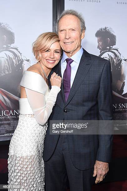 Actress Sienna Miller and Director and Producer Clint Eastwood arrive at the 'American Sniper' New York Premiere at Frederick P Rose Hall Jazz at...