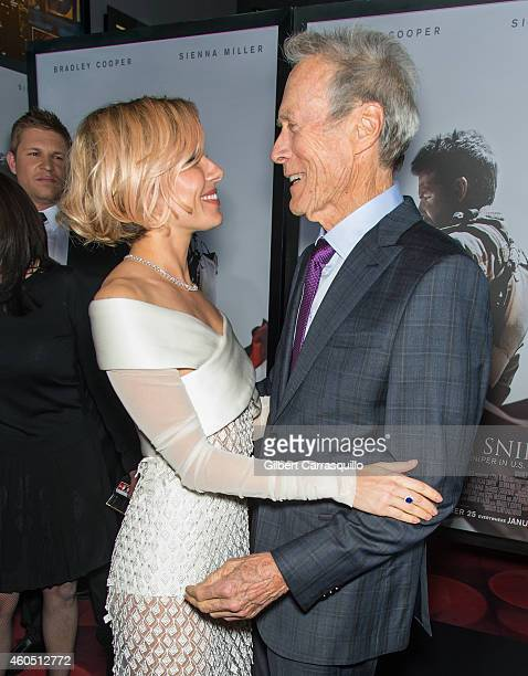 Actress Sienna Miller and Director and Producer Clint Eastwood attend the 'American Sniper' New York Premiere at Frederick P Rose Hall Jazz at...