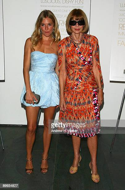 Actress Sienna Miller and Editorinchief of American Vogue Anna Wintour attend the New York special screening of The September Issue at The Museum of...
