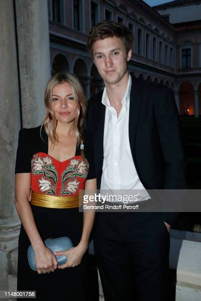Actress Sienna Miller and her companion Lucas Zwirner attend the 58th International Art Biennale in Venice Dinner Gala at 'Fondazione Cini Isola Di...