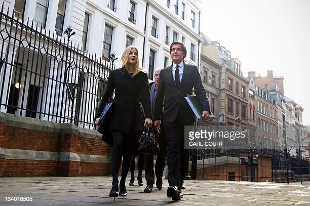 Actress Sienna Miller and her lawyer David Sherborne arrive at the Leveson Inquiry in central London on November 24 2011 The phone hacking inquiry...