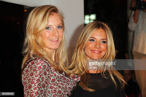 Actress Sienna Miller and her sister Savannah Miller attend the Intermix celebration of Fashion's Night Out at Intermix Soho on September 10 2009 in...