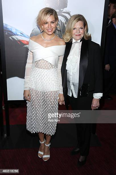 Actress Sienna Miller and Jo Miller arrive at the American Sniper New York Premiere at Frederick P Rose Hall Jazz at Lincoln Center on December 15...