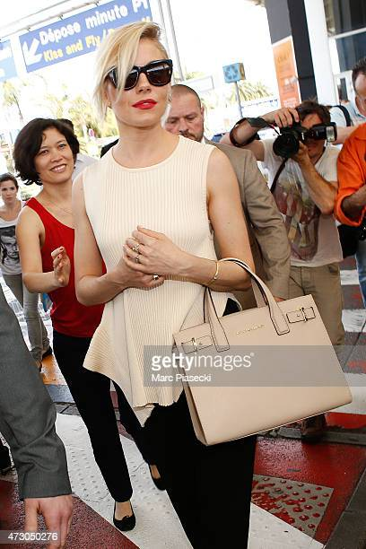 Actress Sienna Miller arrives at Nice airport ahead the 68th annual Cannes Film Festival on May 12 2015 in Cannes France