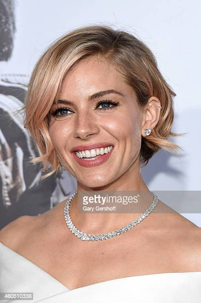 Actress Sienna Miller arrives at the 'American Sniper' New York Premiere at Frederick P Rose Hall Jazz at Lincoln Center on December 15 2014 in New...