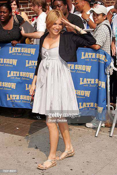 Actress Sienna Miller arrives at the Ed Sullivan Theater for a taping of the Late Show with David Letterman July 10, 2007 in New York City.