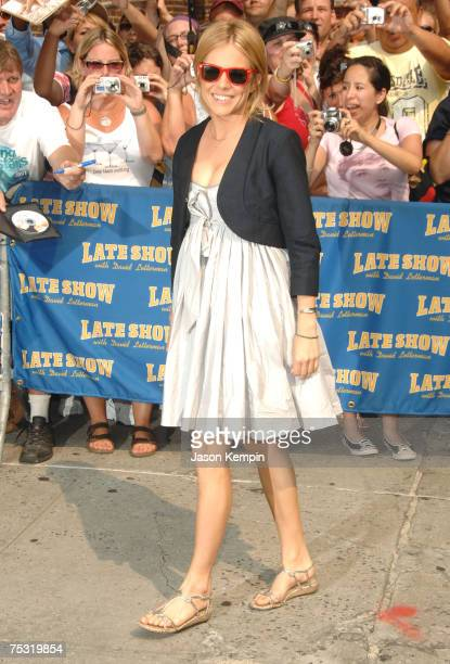 "Actress Sienna Miller arrives at ""The Late Show With David Letterman"" in New York City on July 10, 2007."