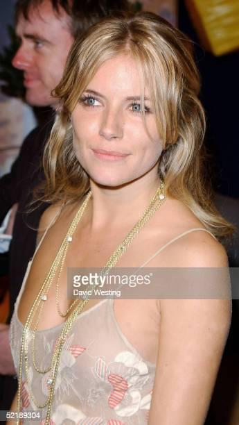 Actress Sienna Miller arrives at the official aftershow party following the Orange British Academy Film Awards 2005 at Grosvenor House, Park Lane on...