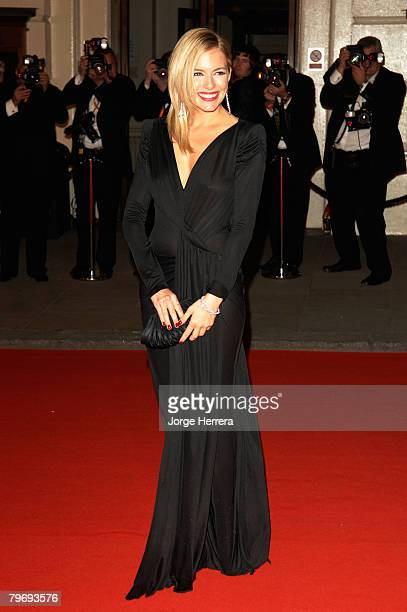 Actress Sienna Miller arrives at the Orange British Academy Film Awards at the Royal Opera House on February 10 2008 in London England