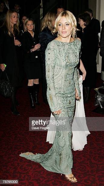 Actress Sienna Miller arrives at The Orange British Academy Film Awards after party at the Grosvenor House Hotel on February 11 2007 in London England