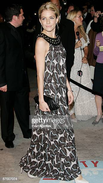 Actress Sienna Miller arrives at the Vanity Fair Oscar Party at Mortons on March 5, 2006 in West Hollywood, California.