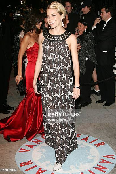 Actress Sienna Miller arrives at the Vanity Fair Oscar Party at Mortons on March 5 2006 in West Hollywood California