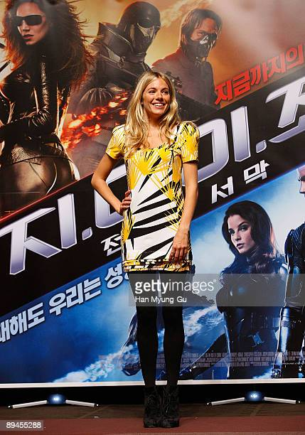 Actress Sienna Miller attend the 'G. I. Joe: The Rise of Cobra' press conference at the Shilla Hotel on July 29, 2009 in Seoul, South Korea. The film...