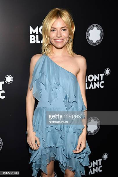 Actress Sienna Miller attends The 24th Montblanc De La Culture Arts Patronage Award honoring Peter M Brant at Kappo Masa on November 10 2015 in New...