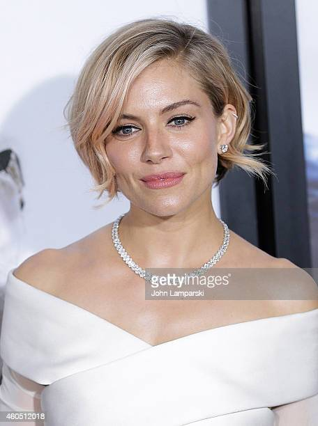 Actress Sienna Miller attends the 'American Sniper' New York Premiere at Frederick P Rose Hall Jazz at Lincoln Center on December 15 2014 in New York...