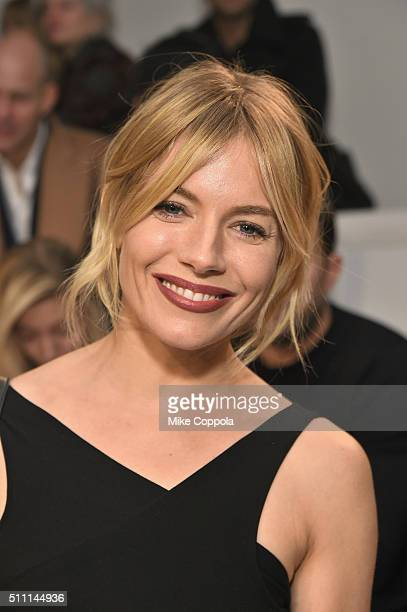 Actress Sienna Miller attends the Ralph Lauren Fall 2016 fashion show during New York Fashion Week The Shows at Skylight Clarkson Sq on February 18...