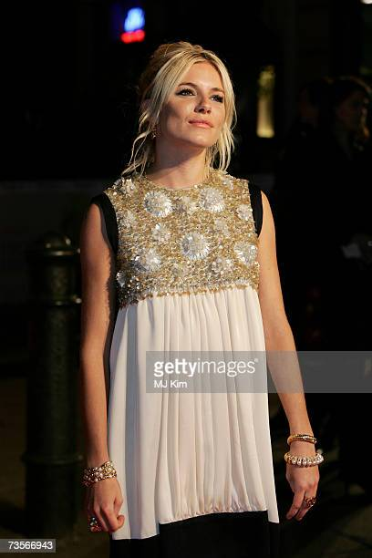 Actress Sienna Miller attends the UK premiere of the movie 'Factory Girl' held at the Vue West End on March 13th 2007 in London England