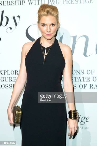 Actress Sienna Miller Boss Orange Fragrance Ambassador attends the The Ever Changing Face of Beauty W Magazine opening reception at the Park Avenue...