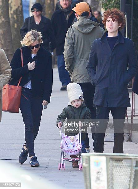 Actress Sienna Miller daughter Marlowe Sturridge and Arthur Sturridge are seen in walking in Soho on March 23 2015 in New York City