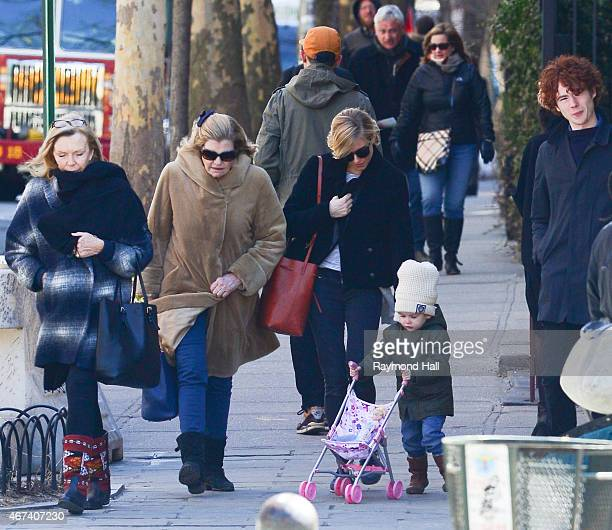 Actress Sienna Miller daughter Marlowe Sturridge her mother Josephine Miller and Arthur Sturridge are seen in walking in Soho on March 23 2015 in New...