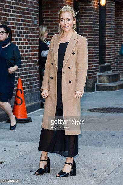 Actress Sienna Miller enters 'The Late Show With Stephen Colbert' taping at the Ed Sullivan Theater on October 26 2015 in New York City