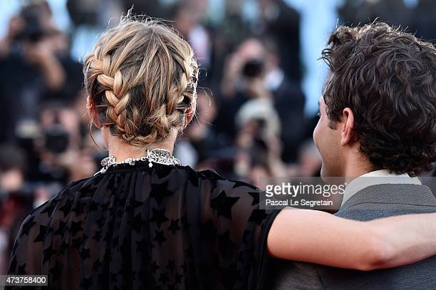 Actress Sienna Miller hair detail and Xavier Dolan attend the Premiere of 'Carol' during the 68th annual Cannes Film Festival on May 17 2015 in...