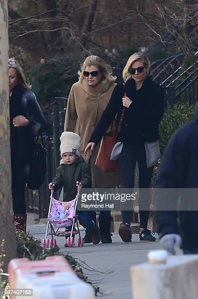 Actress Sienna Miller her mother Josephine Miller and her daughter Marlowe Sturridge are seen in walking in Soho on March 23 2015 in New York City