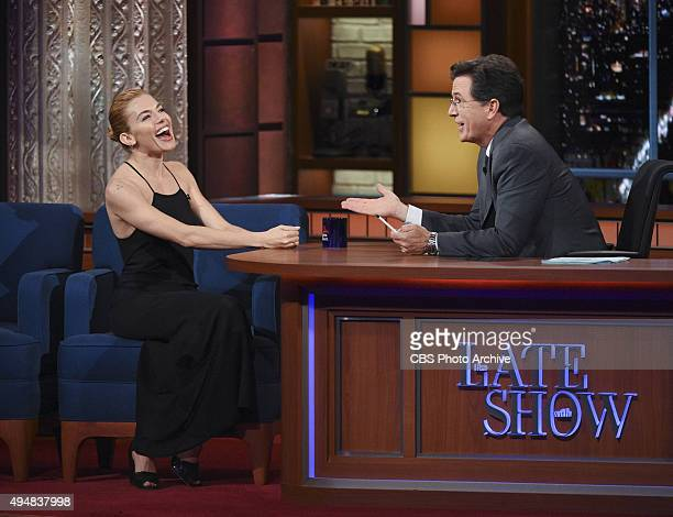 Actress Sienna Miller on The Late Show with Stephen Colbert Monday Oct 26 2015 on the CBS Television Network