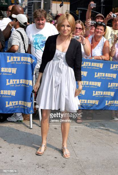 "Actress Sienna Miller visits ""The Late Show with David Letterman"" at the Ed Sullivan Theater on July 10, 2007 in New York City."