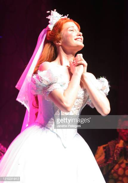Actress Sierra Boggess take a bow during the curtain call at the debut of the Broadway Play The Little Mermaid at the LuntFontanne Theater on January...