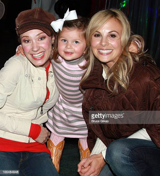 Actress Sierra Boggess TV Personality Elizabeth Hasselback and daughter Grace Hasselback pose as they visit backstage at The Little Mermaid on...