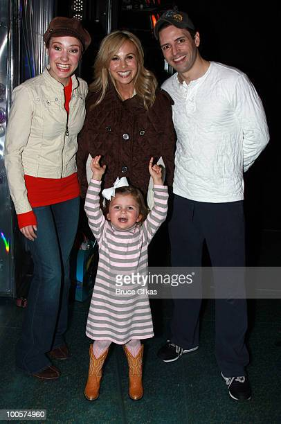 Actress Sierra Boggess TV Personality Elizabeth Hasselback daughter Grace Hasselback and Actor Sean Palmer pose as they visit backstage at The Little...