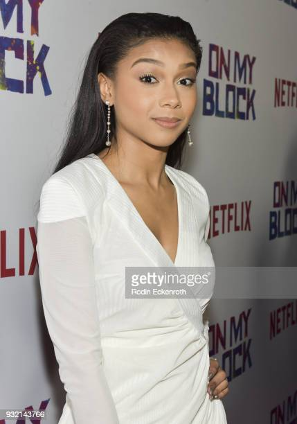 Actress Sierra Capri arrives at the premiere of Netflix's On My Block at NETFLIX on March 14 2018 in Los Angeles California