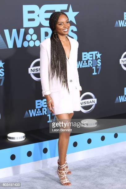 Actress Sierra McClain arrives at the 2017 BET Awards at Microsoft Theater on June 25 2017 in Los Angeles California