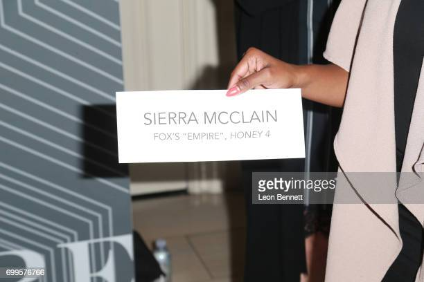 Actress Sierra McClain holds up a sign as she arrives at the 2017 BET Awards PRE at The London West Hollywood on June 21 2017 in West Hollywood...