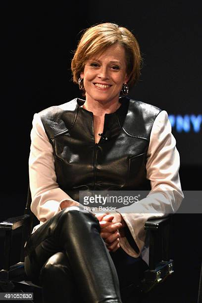 Actress Sigorney Weaver speaks onstage at Sigorney Weaver Talks With Anthony Lane during The New Yorker Festival 2015 at SVA Theater on October 2...