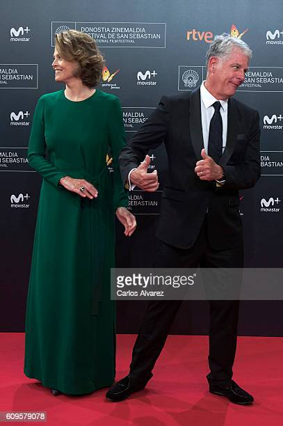 Actress Sigourney and husband Jim Simpson attend 'A Monster Calls' Premiere during the 64th San Sebastian International Film Festival at the Kursaal...