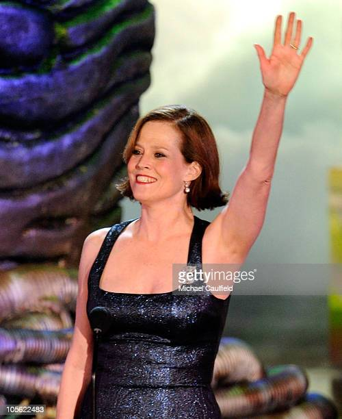 Actress Sigourney Weaver accepts the Heroine Discretionary award onstage during Spike TV's 'Scream 2010' at The Greek Theatre on October 16 2010 in...