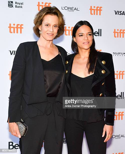 Actress Sigourney Weaver and actress Michelle Rodriguez attend the Assignment premiere during 2016 Toronto International Film Festival at Ryerson...